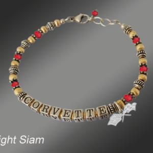 C3 Corvette crystal gold-filled bracelet