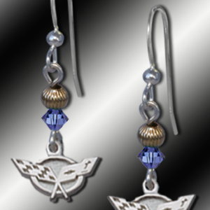 Sapphire C5 Corvette Bead Earrings
