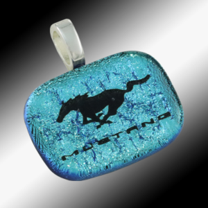 Mustang Pony glass pendant